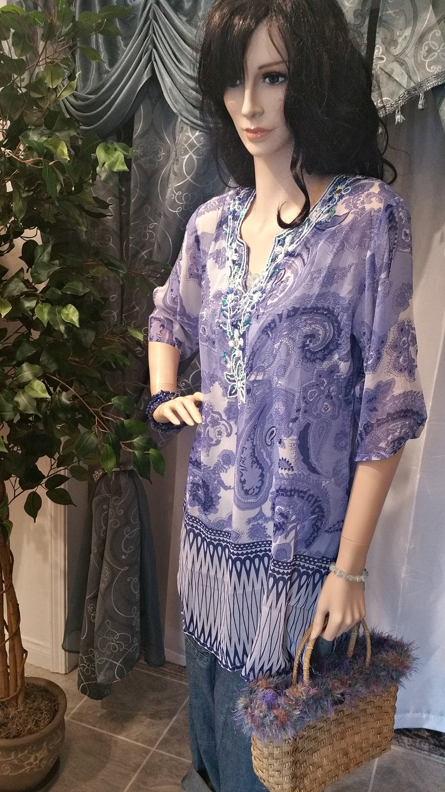 100% Silk Bead Embroidered Long Sleeve Boho Tunic - Purple