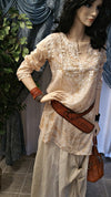 Beige Embroidered Cotton Tunic Top