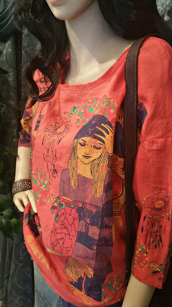Red Linen Cartoon Vintage Boho Top