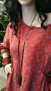Red Cotton Floral Long Sleeve Boho Vintage Dress