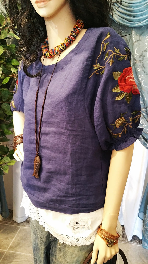 Blue Linen Embroidered Short Sleeve Bohemian Blouse