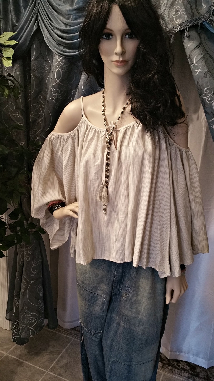 Nude Spaghetti Strap Cold Shoulder Long Sleeve Boho Top