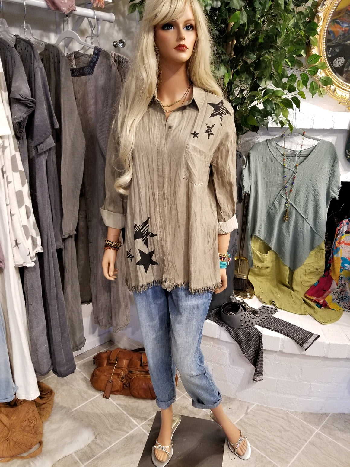 Dyed Olive Frayed Button Up Tunic Shirt
