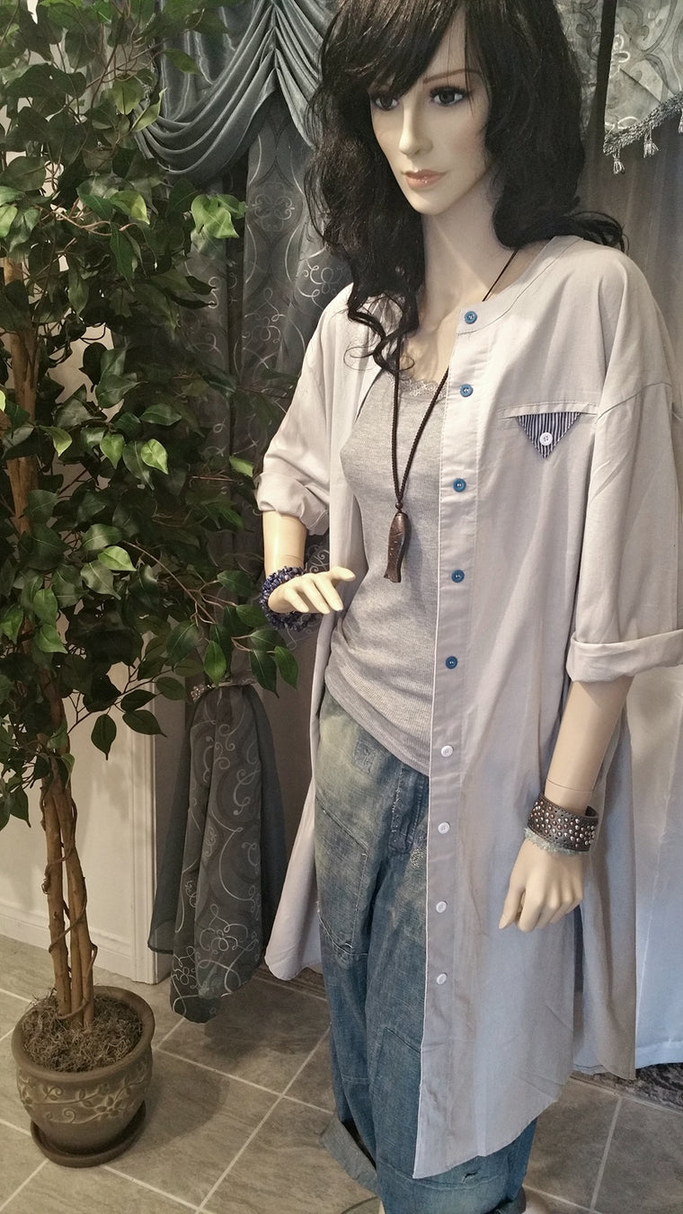 Long Women's Button Down Shirt