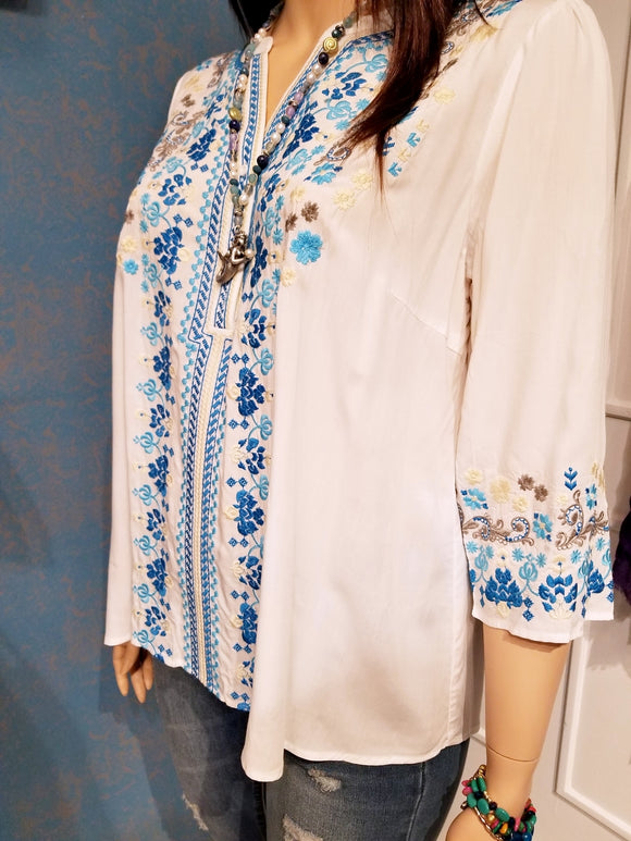 Plus Size Embroidered White & Blue Tunic