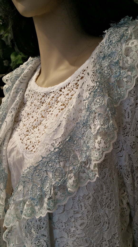 White Blue Lace Vintage Jacket