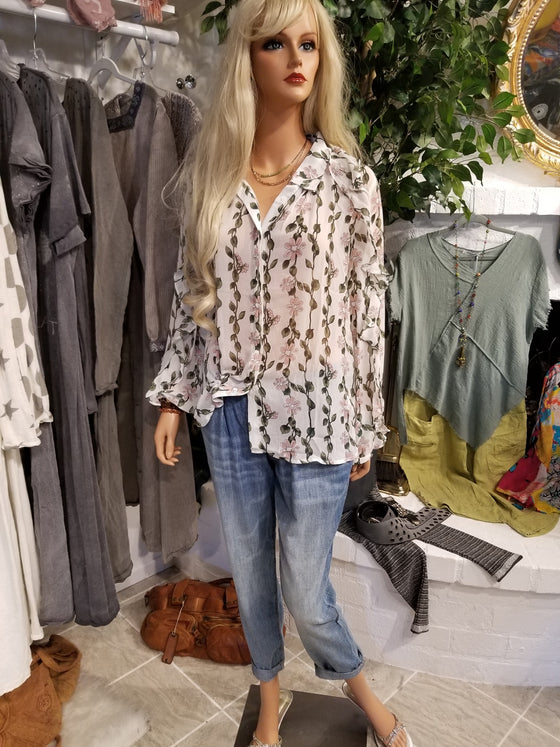 White Floral Long Sleeve Blouse