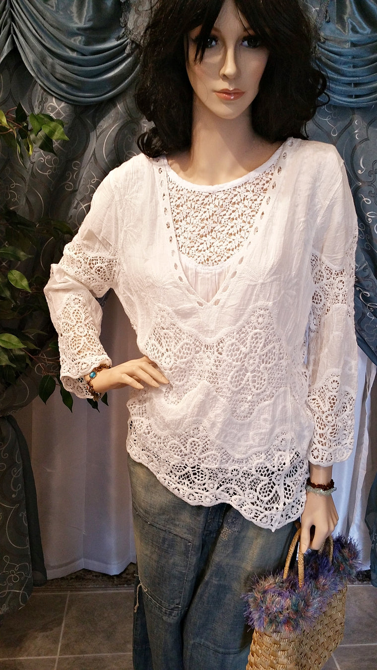 White Long Sleeve Cotton Lace Boho Blouse - Vintage Style