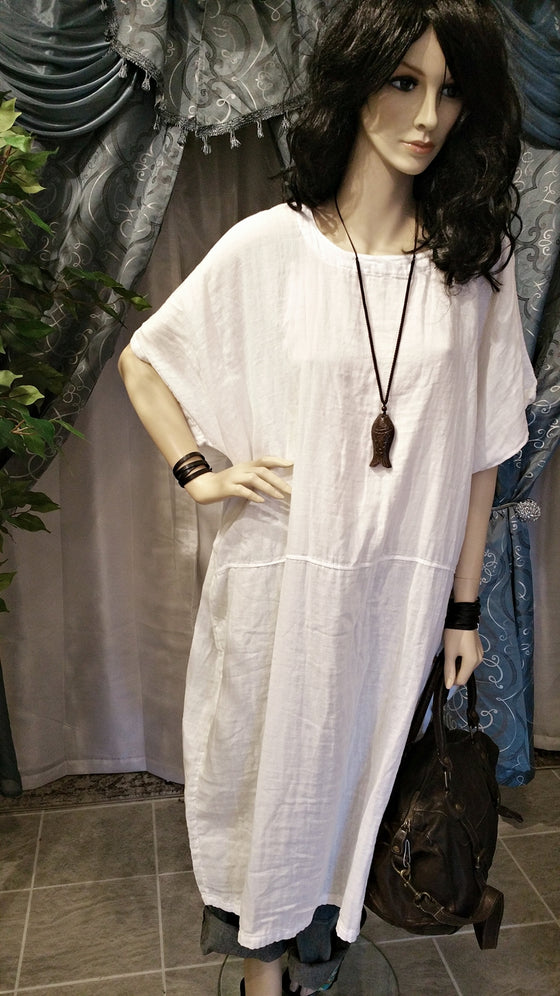 White Soft Gauze Cotton Maxi Dress - One Size