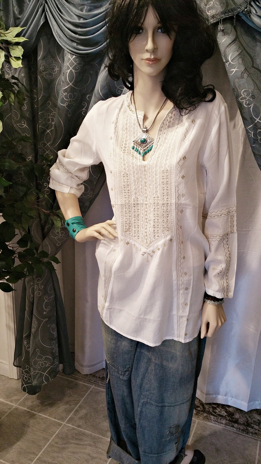 White and Beige Embroidered Cotton Tunic - Boho Style