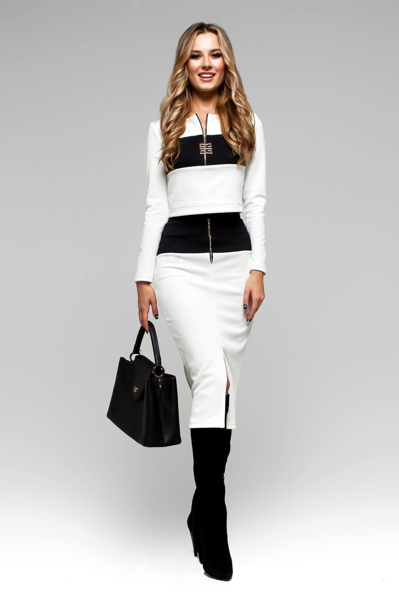 White & Black Two Piece Long Sleeve Skirt Suit Dress with Pencil ...