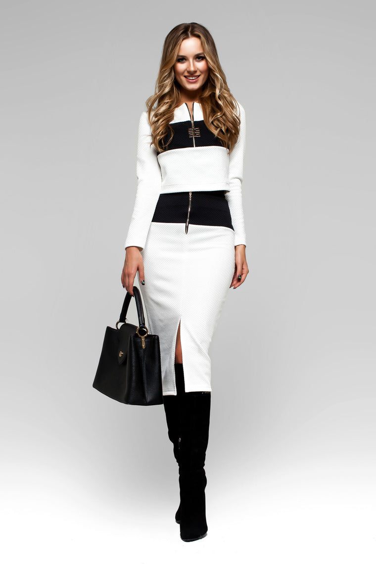 White Two Piece Comfortable Long Sleeve Skirt Suit Dress with Pencil Skirt - Kollekcio  - 1