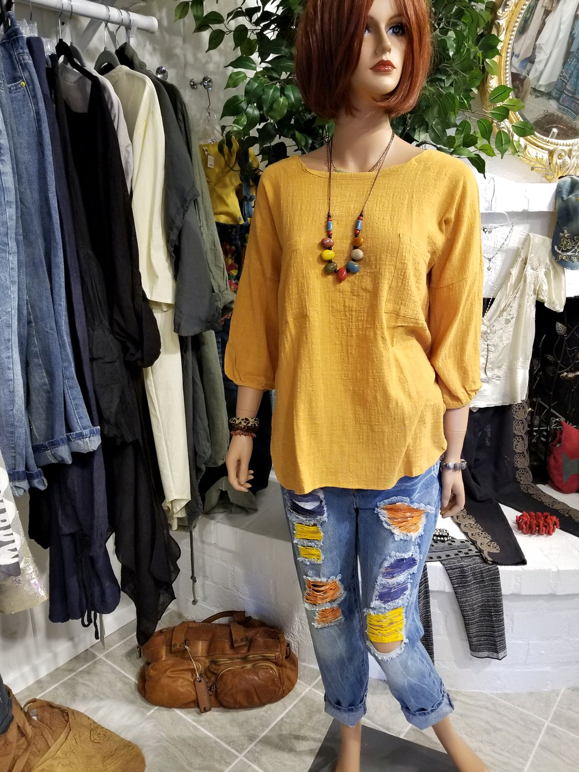 Yellow Long Sleeve Gauze Cotton Blouse
