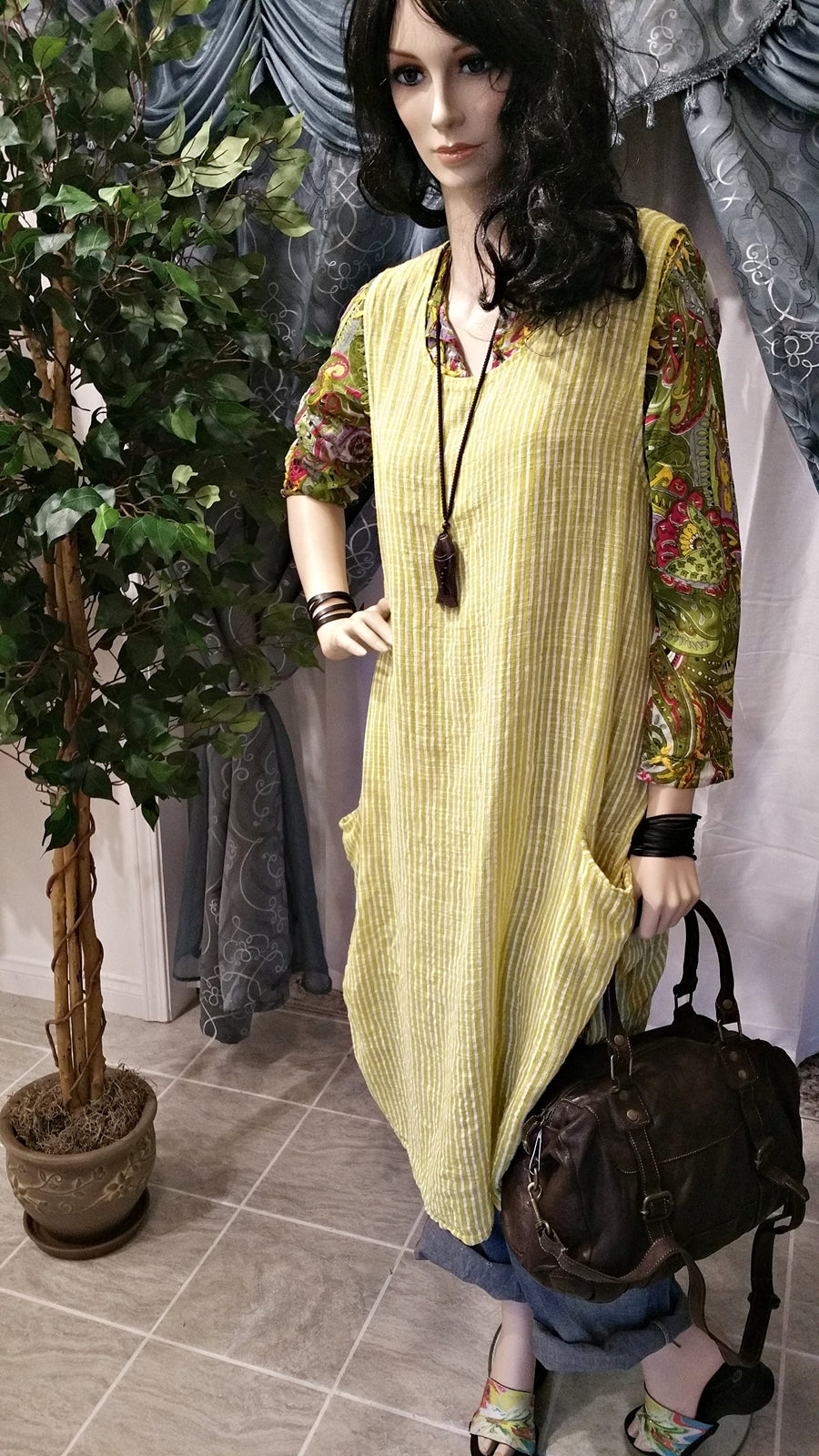 Oversized Mustard Linen Plus Size Lagenlook Dress - Bohemian Style