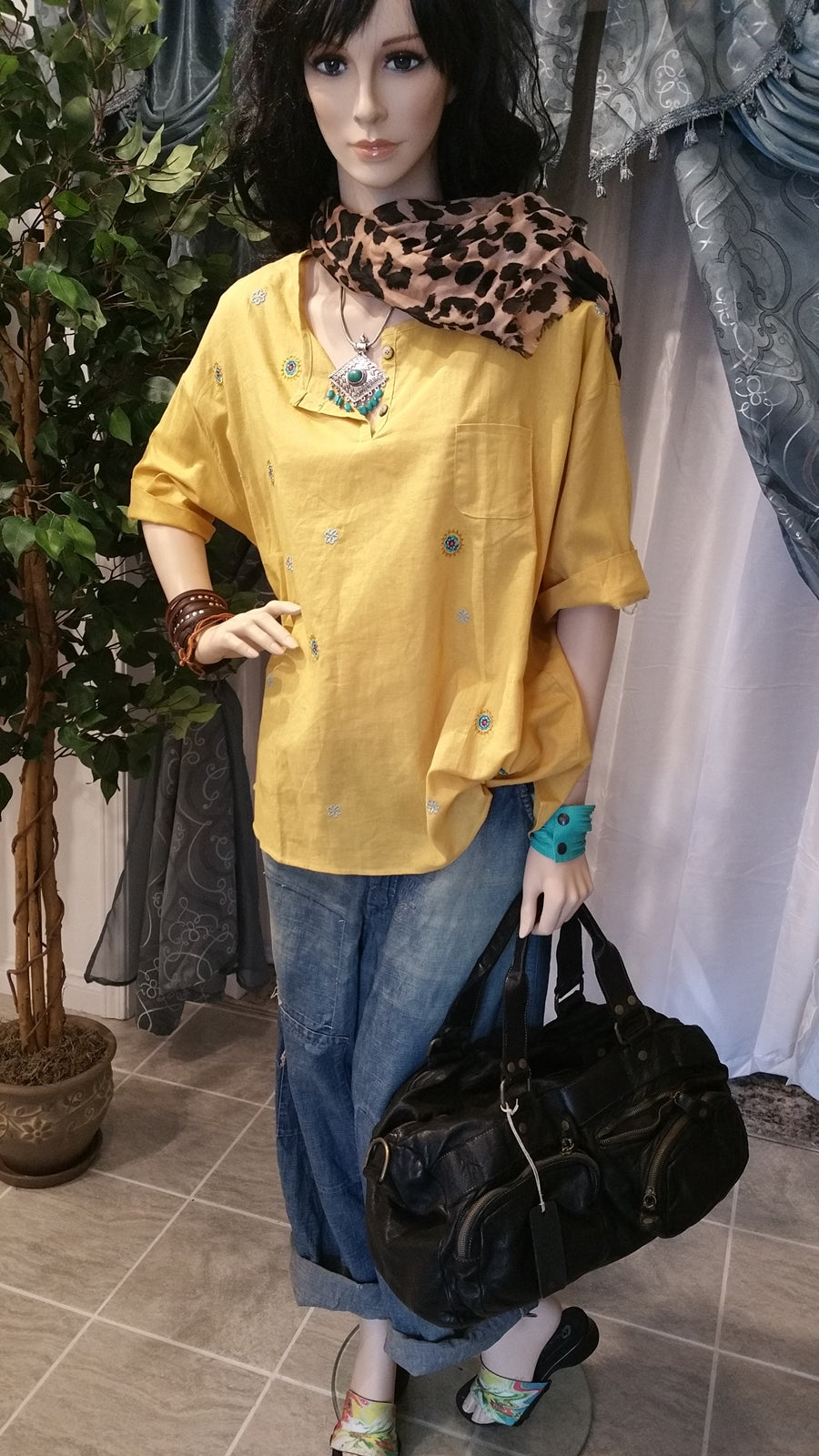 Yellow Linen Oversized Boho Layered Blouse With Embroidery