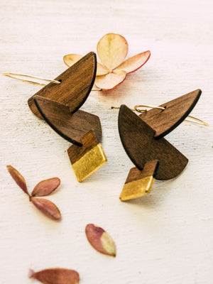 Totem Wood and Gold Earrings