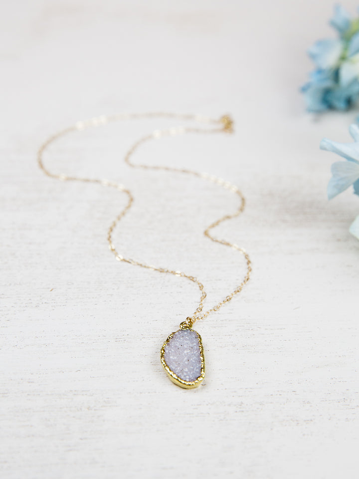 Gold Dipped Raw Druzy Necklace