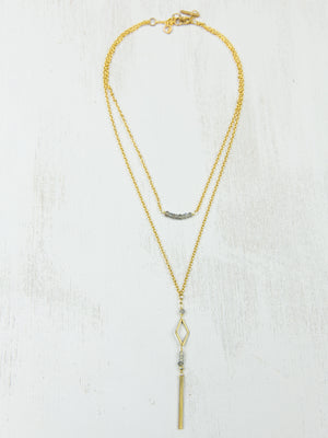Double Labradorite Lariat Necklace