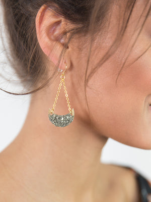 Pyrite Crescent Earrings