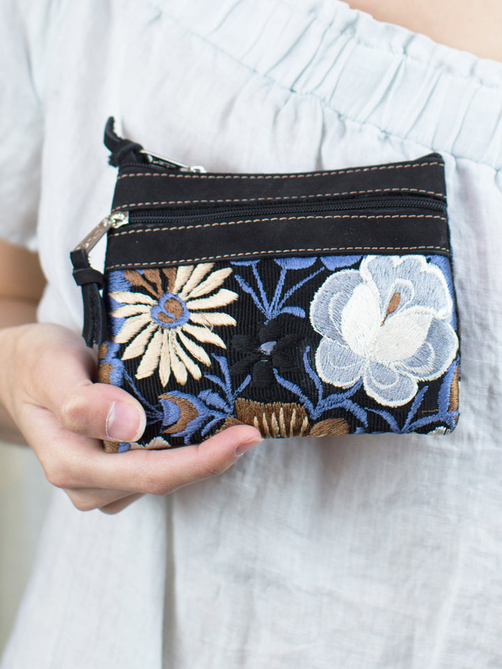 Floral Embroidered Change Purse