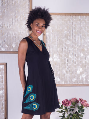 Peacock Applique Wrap Dress
