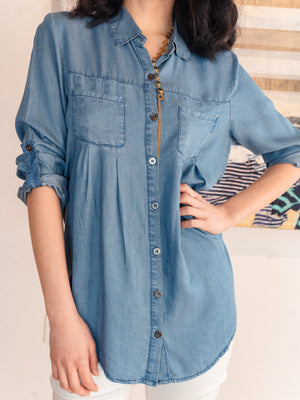 Pleated Chambray Buttondown