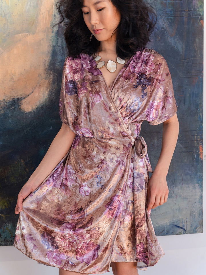 Champagne Roses Wrap Dress