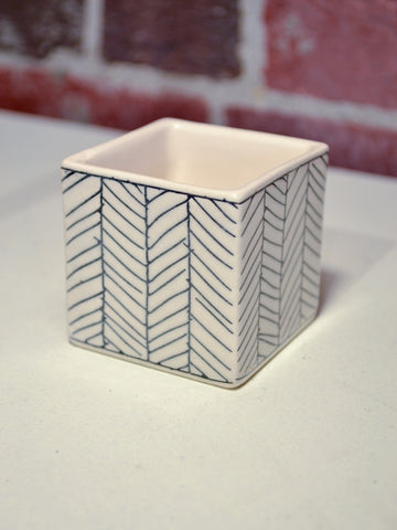 Small Square Herringbone Pot