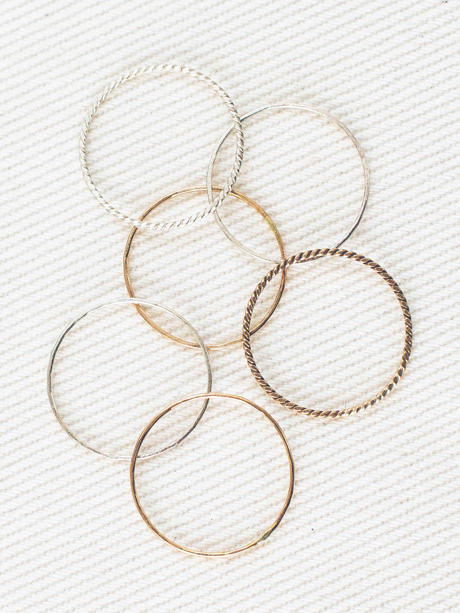 6 Twisted Mixed Metal Stacking Rings