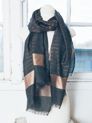 Tessa Charcoal Bronze Silk Wool Scarf