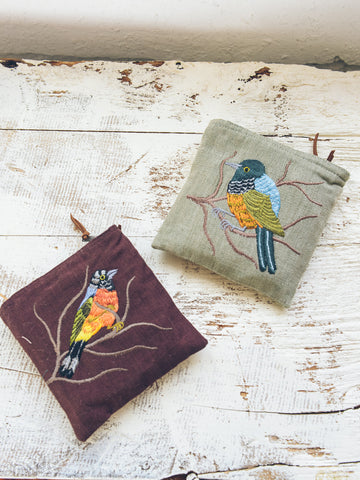 Embroidered Bird Pouch -Square