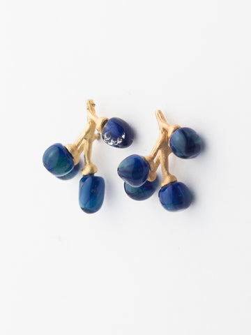 Blueberry Glass & Gold Earrings