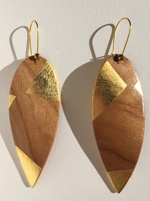 Cherry Wood Twisted Leaf Earrings
