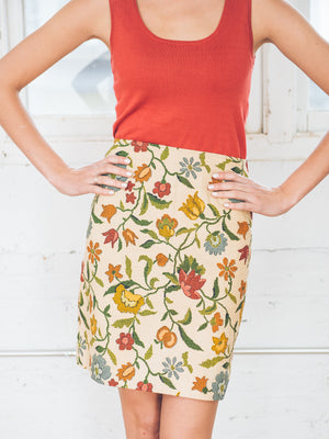 Autumn Blooms Pencil Skirt
