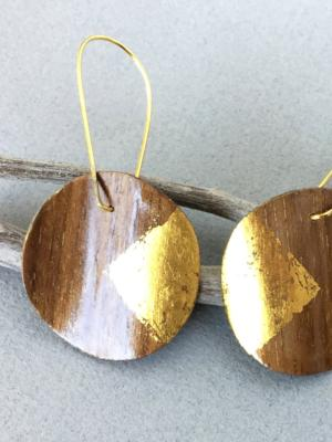 Walnut 24k Gold Circle Earrings