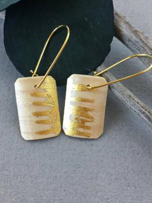 Tiny Sycamore 24k Gold Square Earrings