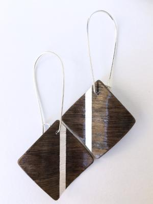 Wavy Square Fine Wood Earrings