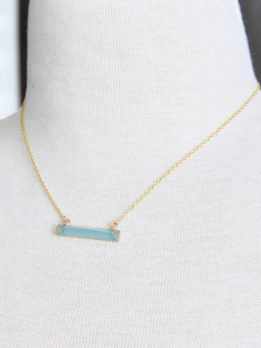 Blue Chalcedony Bar Necklace
