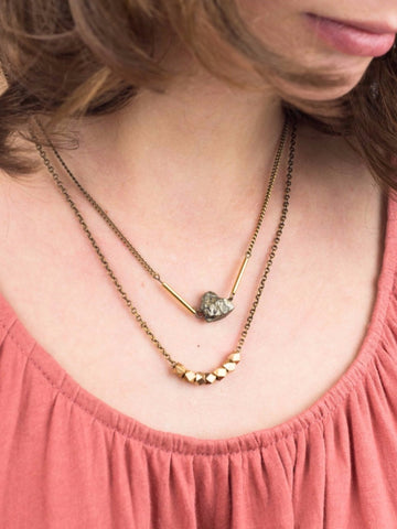 Pyrite and Bronze Double Strand Necklace