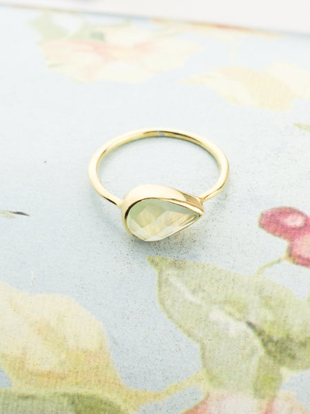Phrenite Teardrop Ring