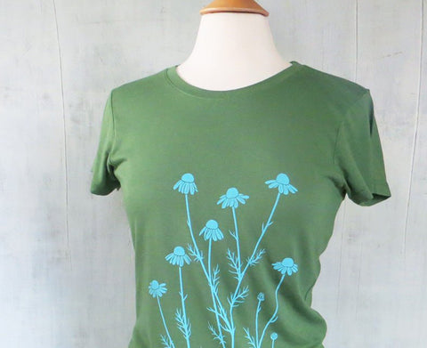 Women's Bamboo Organic Cotton T-Shirt with Chamomile - Green - Uzura - Seattle, WA - PNW