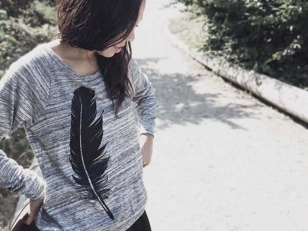 Eco Sweatshirt with Black Feather