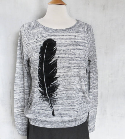 Women's Lightweight Eco Sweatshirt - Black Feather - Grey - Uzura - Seattle, WA - PNW