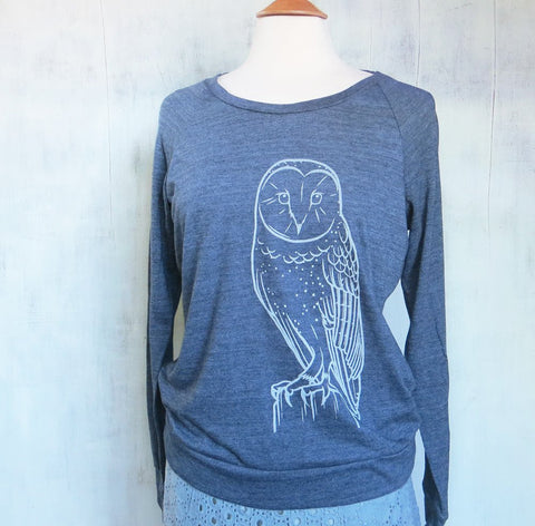 Women's Lightweight Eco Sweatshirt - Owl - Heather Navy - Seattle, WA - PNW