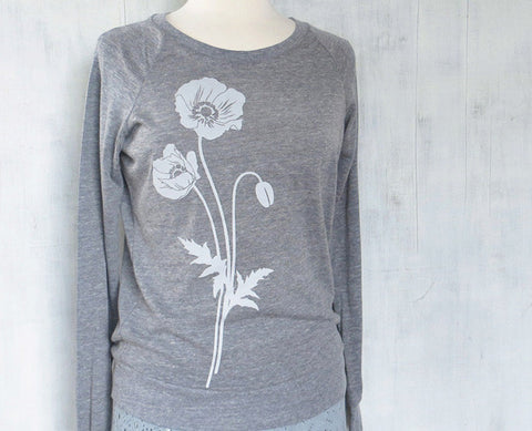Women's Lightweight Eco Sweatshirt - Poppy - Heather Gray - Uzura - Seattle, WA - PNW
