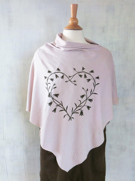 Women's Hemp Organic Cotton Poncho with Bluebell Heart - Light Pink - Uzura - Seattle, WA - PNW
