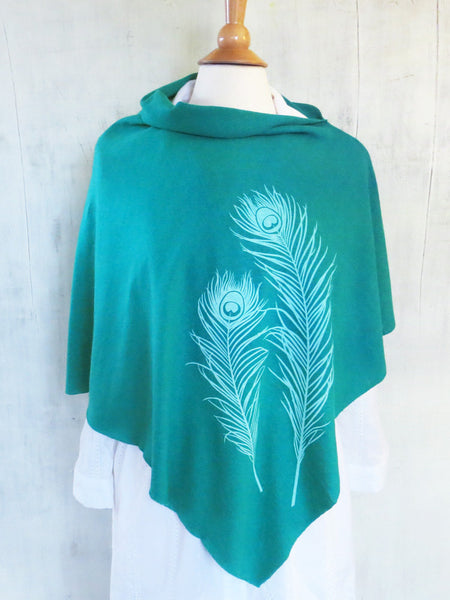 Hemp / Organic Cotton Lightweight Poncho with Peacock Feathers - Emerald Green