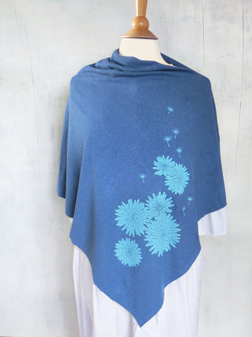 Women's Hemp / Organic Cotton Lightweight Poncho - Dandelion - Blue - Uzura - Seattle, WA - PNW