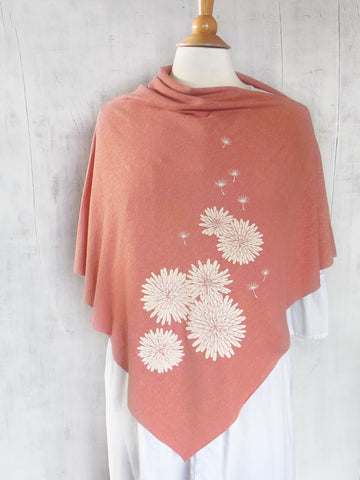 Women's Hemp / Organic Cotton Lightweight Poncho - Dandelion - Salmon - Uzura - Seattle, WA - PNW