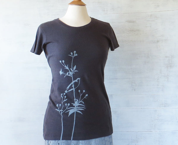 Women's Hemp Organic Cotton T-Shirt - Bird on Flower - Grey - Uzura - Seattle, WA - PNW